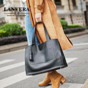 LANVERA 新款女士手提包大容量牛皮托特包欧美简约子母单肩包大包 L2007 【支持礼品卡】