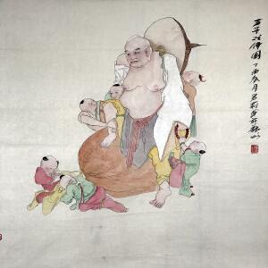 徐君莉(五子戏佛图)河南省美术家协会会员