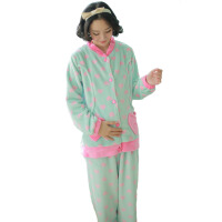 秋冬季法兰绒哺乳衣产后月子服 加厚大码睡衣