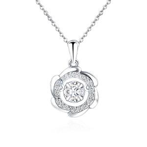 芭法娜  s925银韩版时尚流行花朵型灵动吊坠 送银链 会动的锆石