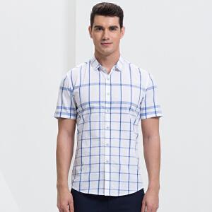 才子男装(TRIES)短袖衬衫 男士2017年新款蓝色经典格纹舒适透气短袖衬衫