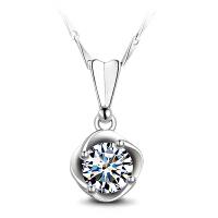 茵曼首饰 925银项链女仿真钻石玫瑰花朵吊坠锁骨链送女友 情深10736 白色