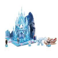 迪士尼冰雪奇缘艾莎公主3D立体场景拼图纸模儿童益智拼插玩具礼物