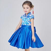 新款女童旗袍礼服 儿童中国风小孩公主裙连衣裙 宝宝唐装演出服