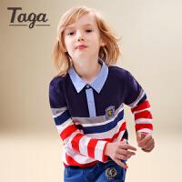 【满200-100】TAGA童装男童长袖T恤中大童2017新款针织衫中大童POLO衫