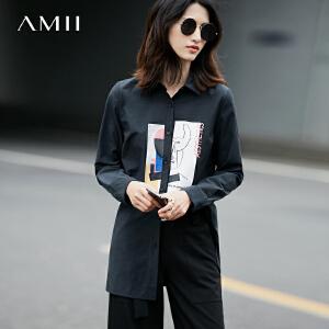 Amii2017春女印花长袖通勤中长款大码衬衫11770074