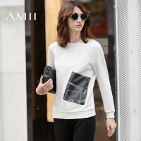 【AMII超级大牌日】[极简主义]2016秋季新款休闲圆领套头撞色印花百搭套头卫衣女