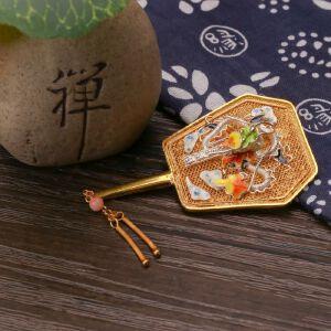 【只有一个】银镀金花丝珐琅珊瑚龙扇胸针