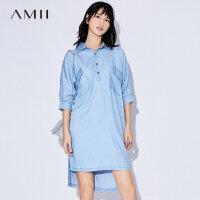 Amii[极简主义]2017夏装新翻领蝙蝠袖前短后长丹宁连衣裙11742883