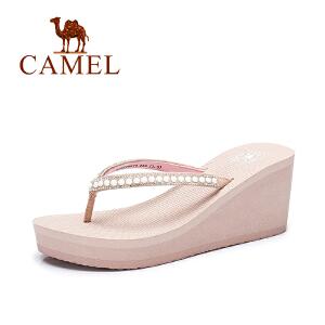 camel骆驼女鞋 夏季新款甜美水钻人字拖女 简约百搭坡跟拖鞋