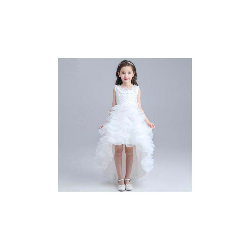 女童公主裙拖尾长裙花童礼服裙儿童婚纱裙 晚礼服_白色,90cm