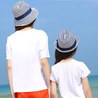 儿童母女帽子遮阳帽宝宝草帽亲子帽出游防晒条纹太阳帽夏天女童