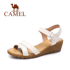 Camel/骆驼女鞋 2017夏季新款简约透气增高坡跟鞋 舒适凉鞋女