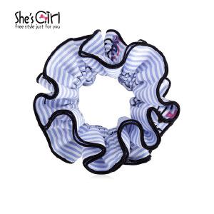 She's Girl茜子 发绳 蓝色条纹字母发圈 日系可爱绑马尾盘发头花 头饰 发饰品礼物