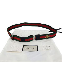 Gucci古驰男士红绿条尼龙蜜蜂刺绣腰带3cm 409019 HAETN