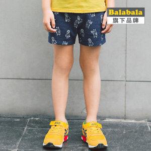 【6.26巴拉巴拉超级品牌日】巴拉巴拉旗下 巴帝巴帝男童满印卡通针织短裤2017夏儿童休闲短裤