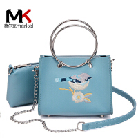 莫尔克(MERKEL)新款时尚迷你刺绣圆环女小包子母包欧美链条单肩斜跨小包包