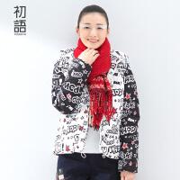 初语冬季 趣味涂鸦印花撞色拼接短款羽绒服8540942032C