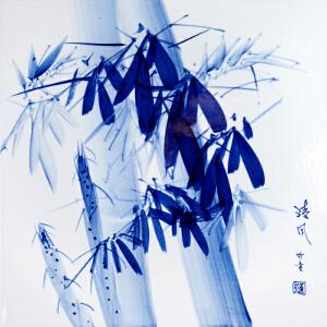 中国竹画泰斗非遗传承人 童承天 釉上新彩《清风》