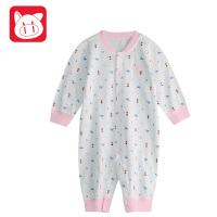 小猪班纳童装新生儿宝宝连体衣哈衣春装幼童纯棉开衫针织长袖爬服