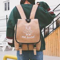 简约呢料双肩包新品日韩版简约水桶包休闲旅行包书包