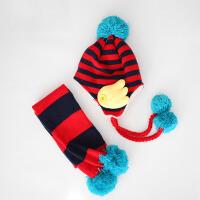 秋冬男女儿童帽子宝宝帽子围巾两件套装潮小孩