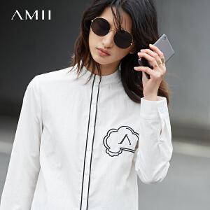 Amii[极简主义]2017春新直筒小立领撞色绣花长袖棉质衬衫11740219