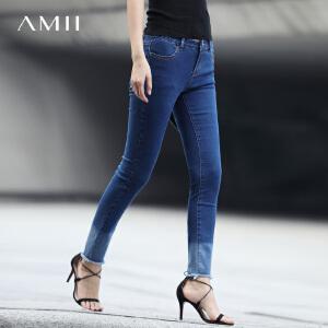 Amii2017春装女装渐变牛仔毛边修身九分牛仔裤11740747