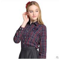 时尚干练显瘦百搭学生长袖格子衬衫少女休闲全棉衬衣