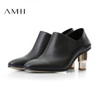 【AMII超级大牌日】[极简主义] 2016新品头层牛皮尖头粗跟及踝高跟短靴11684637
