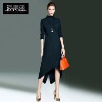 海青蓝新款时尚针织毛衣长袖修身名媛中长款连衣裙女7511