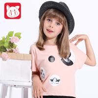 小猪班纳童装2017夏装时尚蝙蝠上衣纯棉印花女童短袖T恤