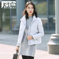 对白活页短款休闲棉衣2016新款冬装外套女纯色简约立领棉服