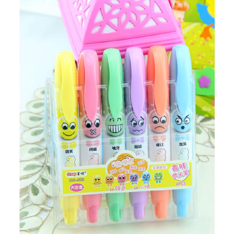 掌握553荧光笔 可爱卡通表情儿童涂鸦画笔 水果香味 重点彩色标记笔