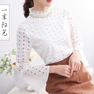 一米阳光2017春款韩版小立领蕾丝衫长袖女镂空修身百搭小衫