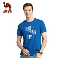 骆驼男装 2017年夏季新款圆领纯色印花青春休闲男青年短袖T恤衫