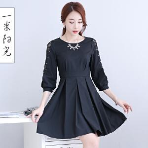 一米阳光2017新款韩版蕾丝衬衫连衣裙七分袖a字裙女中长款