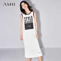 Amii[极简主义]2017夏装新款大码无袖休闲印花开衩连衣裙11772699