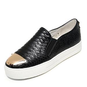 milkroses 冬款清仓 金属铁片钻钉装饰蛇纹懒人鞋