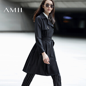 【AMII超级大牌日】[极简主义]2017年春女新英伦纯色双排扣腰带长风衣外套11673202