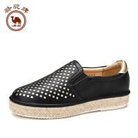 骆驼牌 夏季女鞋新品 时尚百搭pu皮透气耐磨平底鞋板鞋