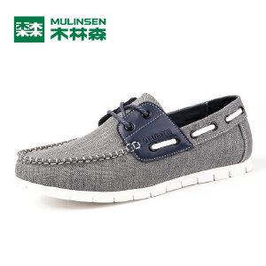 木林森男鞋夏季新款板鞋男韩版 潮流休闲鞋低帮系带拼接单鞋21611417