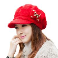 秋冬季潮护耳贝雷帽保暖加绒  时尚鸭舌兔毛帽针织毛线帽女款