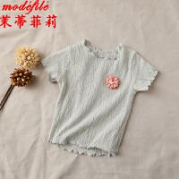 茉蒂菲莉 女童T恤 2017夏季新款花朵木耳边短袖限时抢韩版纯色儿童打底衫百搭上衣童装