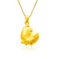 芭法娜 福愿 3D硬金黄金足金立体黄金鸡吊坠 本命年 生肖鸡吊坠 送银项链一条