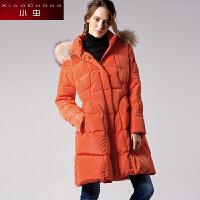 小虫2016冬装新款欧美时尚保暖加厚显瘦貉毛领中长款羽绒服女外套