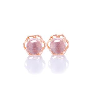 芭法娜 花型银镶天然粉水晶耳钉 甜美可爱电镀玫瑰金 防过敏