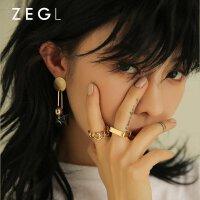 ZENGLIU韩国装饰戒指女 镀金色简约食指环戒子日韩潮人情侣首饰品