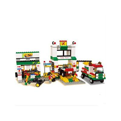 小鲁班 拼插积木 模拟城市系列 汽车维修站 模型玩具