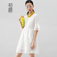 初语冬装新款 连衣裙拼接高腰A字连衣裙女8512422023